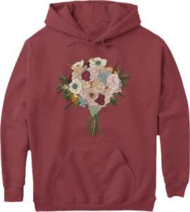 Flower bouquet on pouch pocket, long sleeve hoodie
