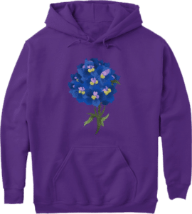 Purple Flowers Pullover Pocket Pouch Hoodie