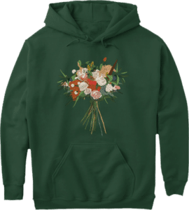 Quality Green Hoodie botanical flower bouquet
