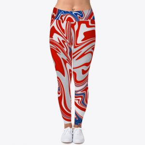Red White Blue Workout Leggings