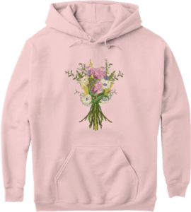Pink white flower bouquet on a pink pouch pocket hoodie