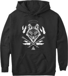 Wolf Wolves Bohemian Boho Arrows Feathers Hoodie