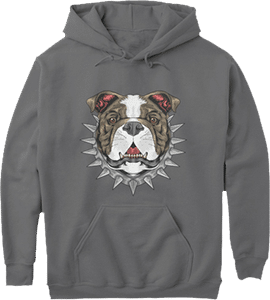 Spiked Collar Tough Bull Dog Hoodie