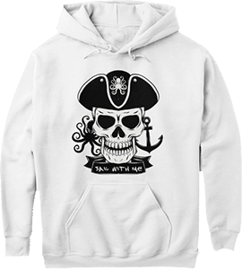 Pirate Skull Sail With Me Octopus Anchor Hoodie