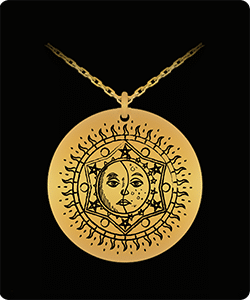 Astrology Sun and Moon Necklace Pendant
