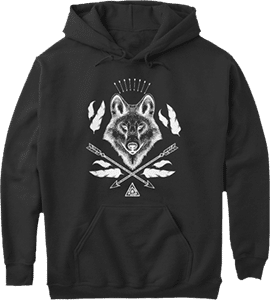 Bohemian Style Wolf Arrows Feathers Hoodie