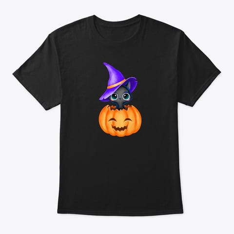 Black Cat Shirt Halloween Pumpkin