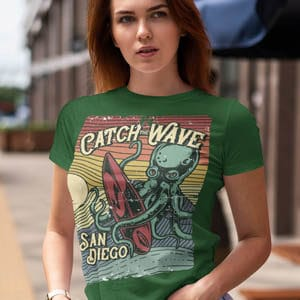 Catch the Wave Surfing t shirt