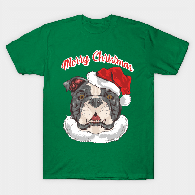 Merry Christmas Pit Bull Santa Hat T-Shirt